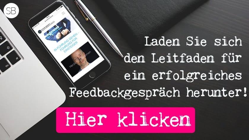 """Link zum Freebie """"Leitfaden für Feedbackgespräche als neue Führungskraft"""""""